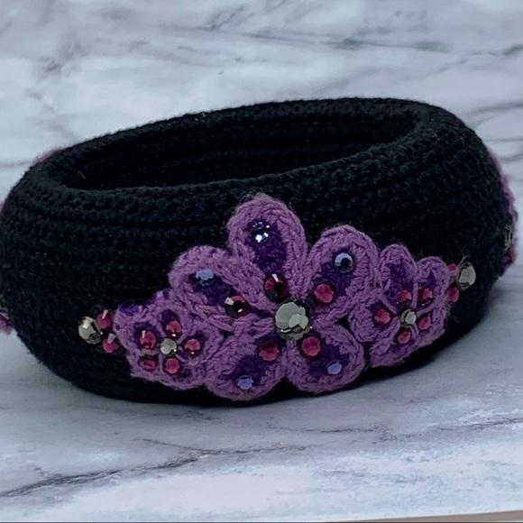 Tarina Tarantino Black and Purple Crocheted Bangle